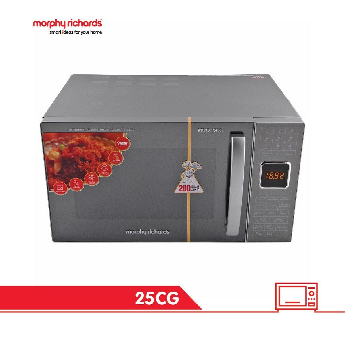 Morphy Richards 25 L Convection Microwave Oven (25 CG with 200 ACM, Silver)