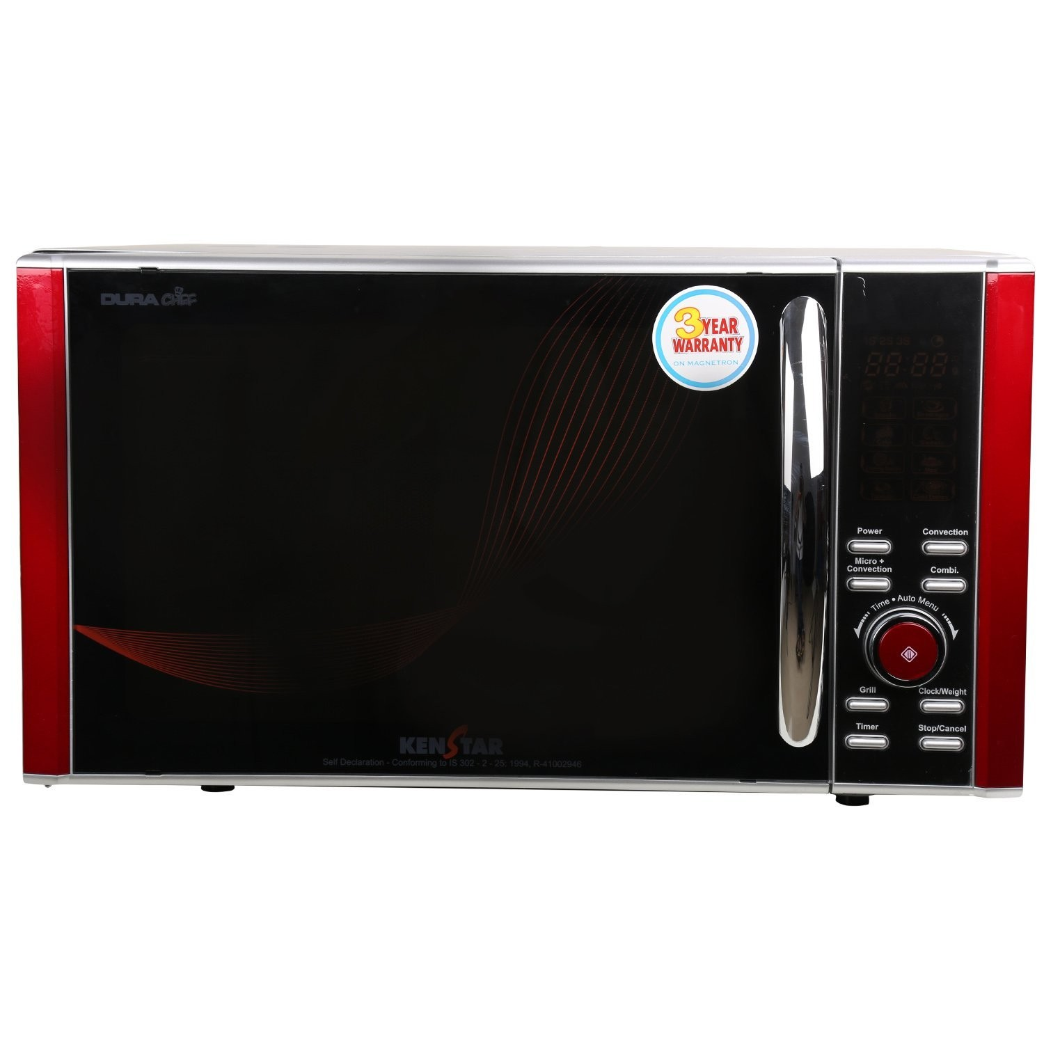 Silver finish Kenstar 25 liters convection microwave oven
