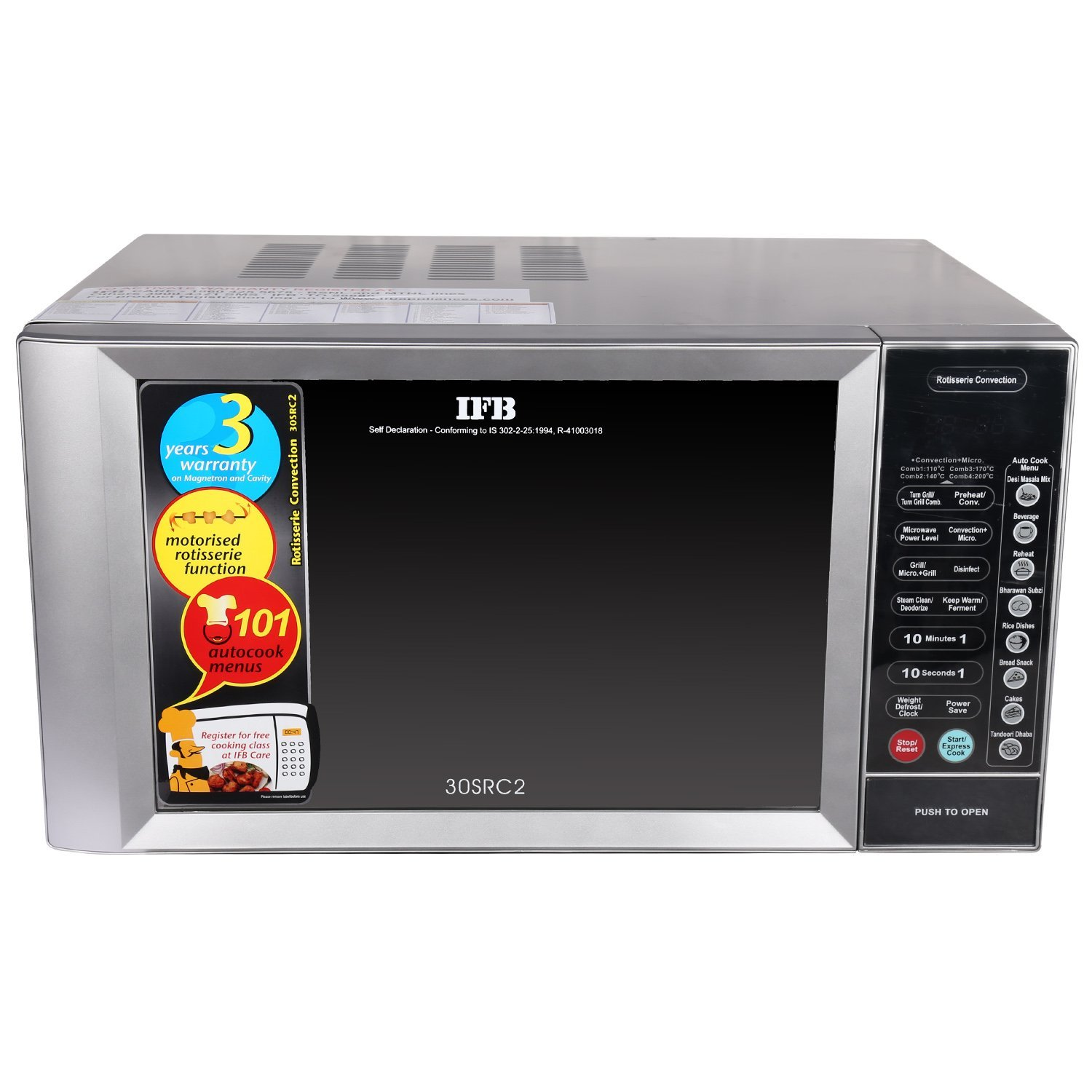 Convection Microwave Oven Means: IFB 30 L Convection Microwave Oven (30SRC2, Metallic Silver