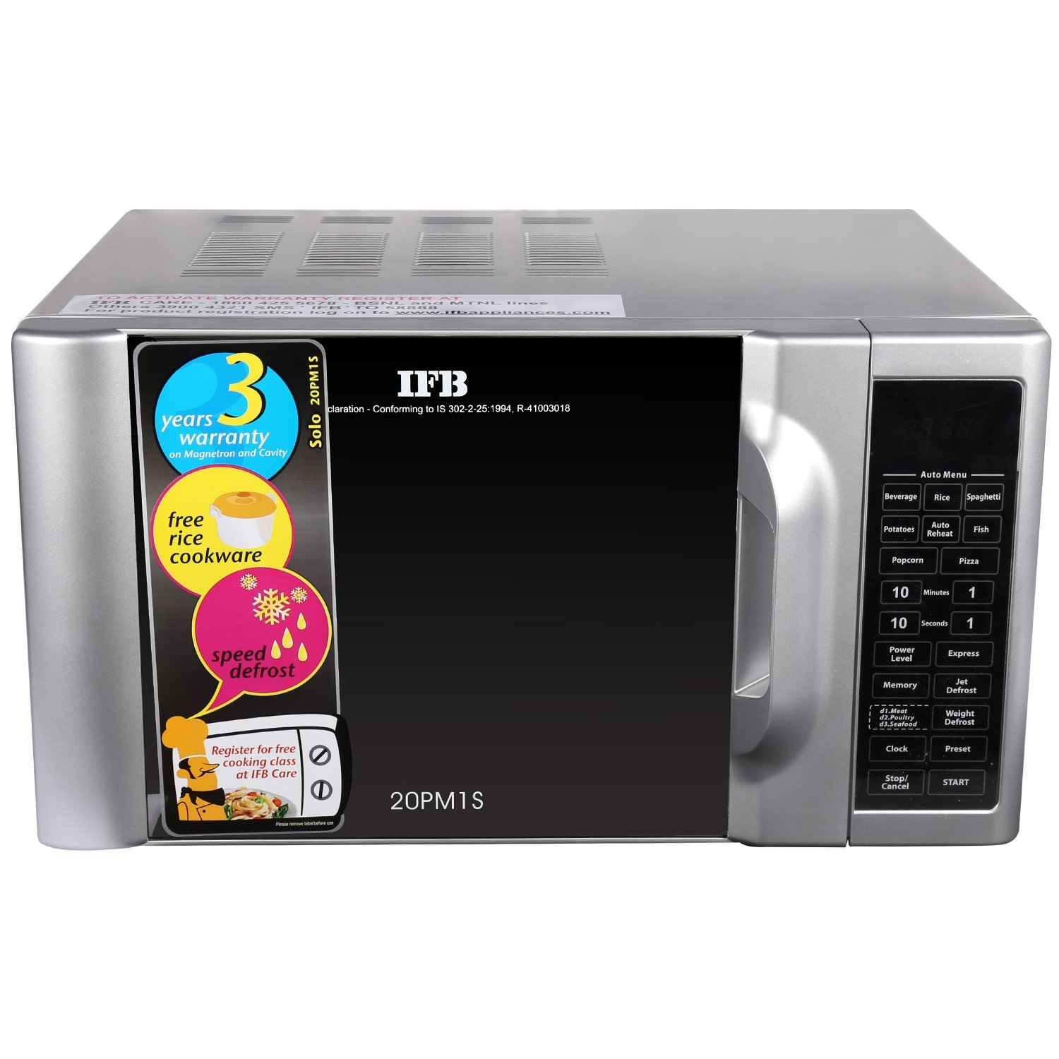Ifb 20 L Solo Microwave Oven 20pm1s Metallic Silver