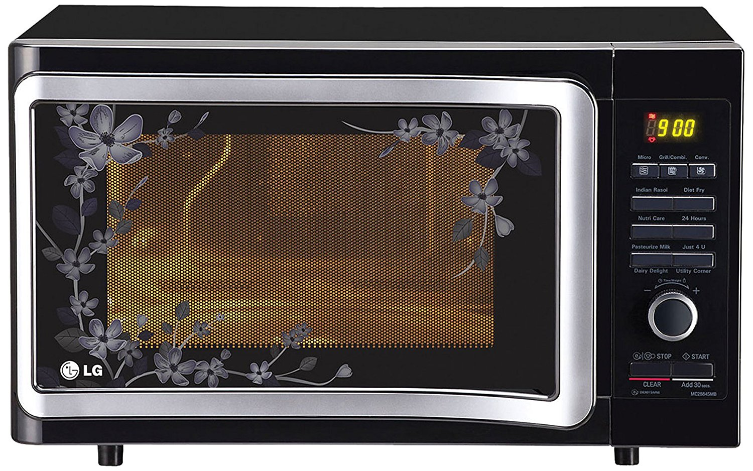 black floral convection microwave oven from LG